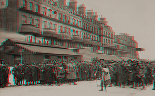 Anaglyph still of WW1 Soldiers at the Marine Parade Rest Camp, Folkestone
