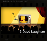 image of a tv on a theatre stage and link to the 2 days laughter website